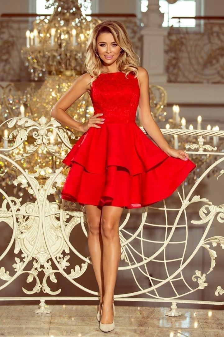 b97afac3232395 Wieczorowa sukienka z wyszywaną górą i falbaniasty - 7672409001 ...