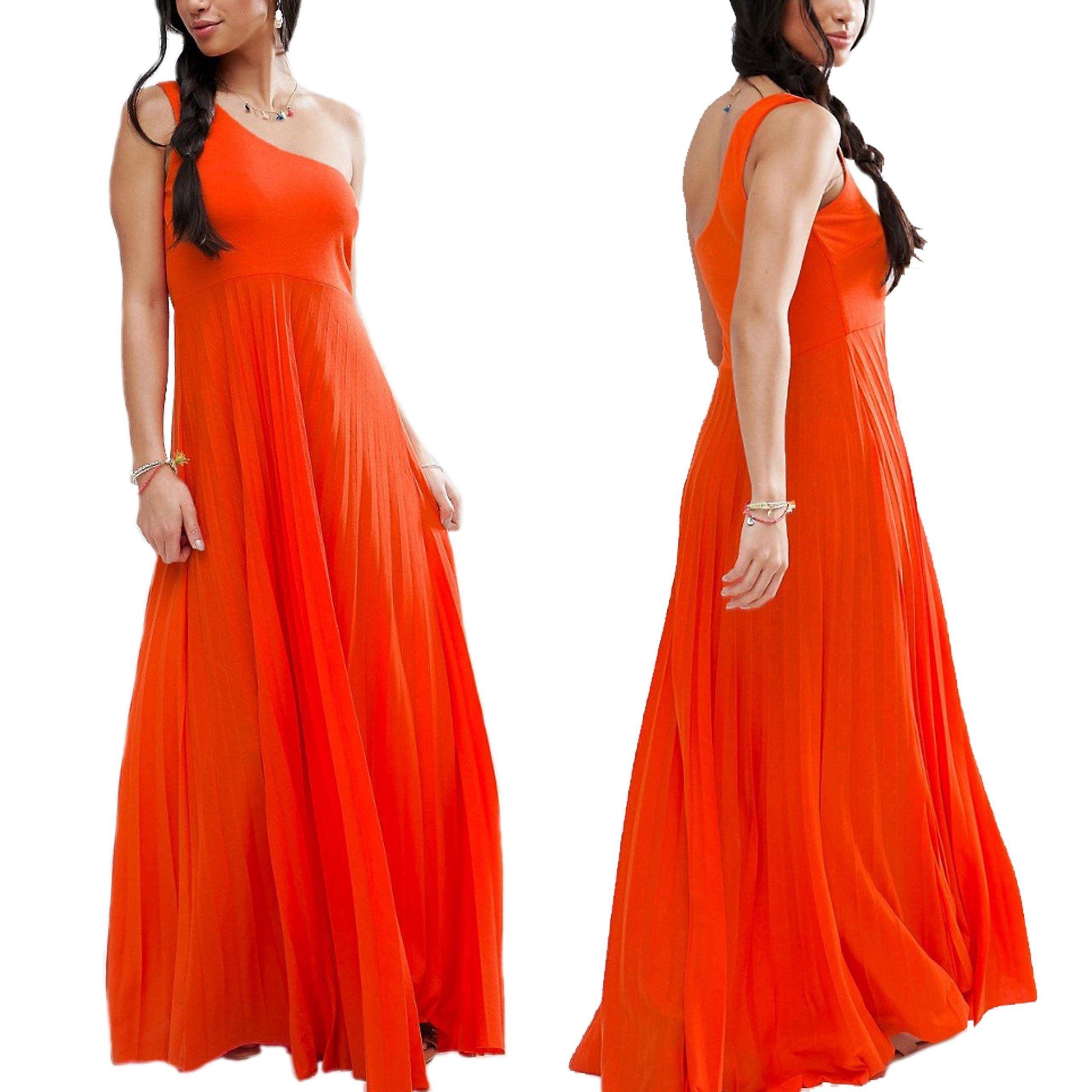 a36d56a1f1 D3 Pomarańczowa Sukienka asymetryczna maxi S 36 - 7013476526 ...