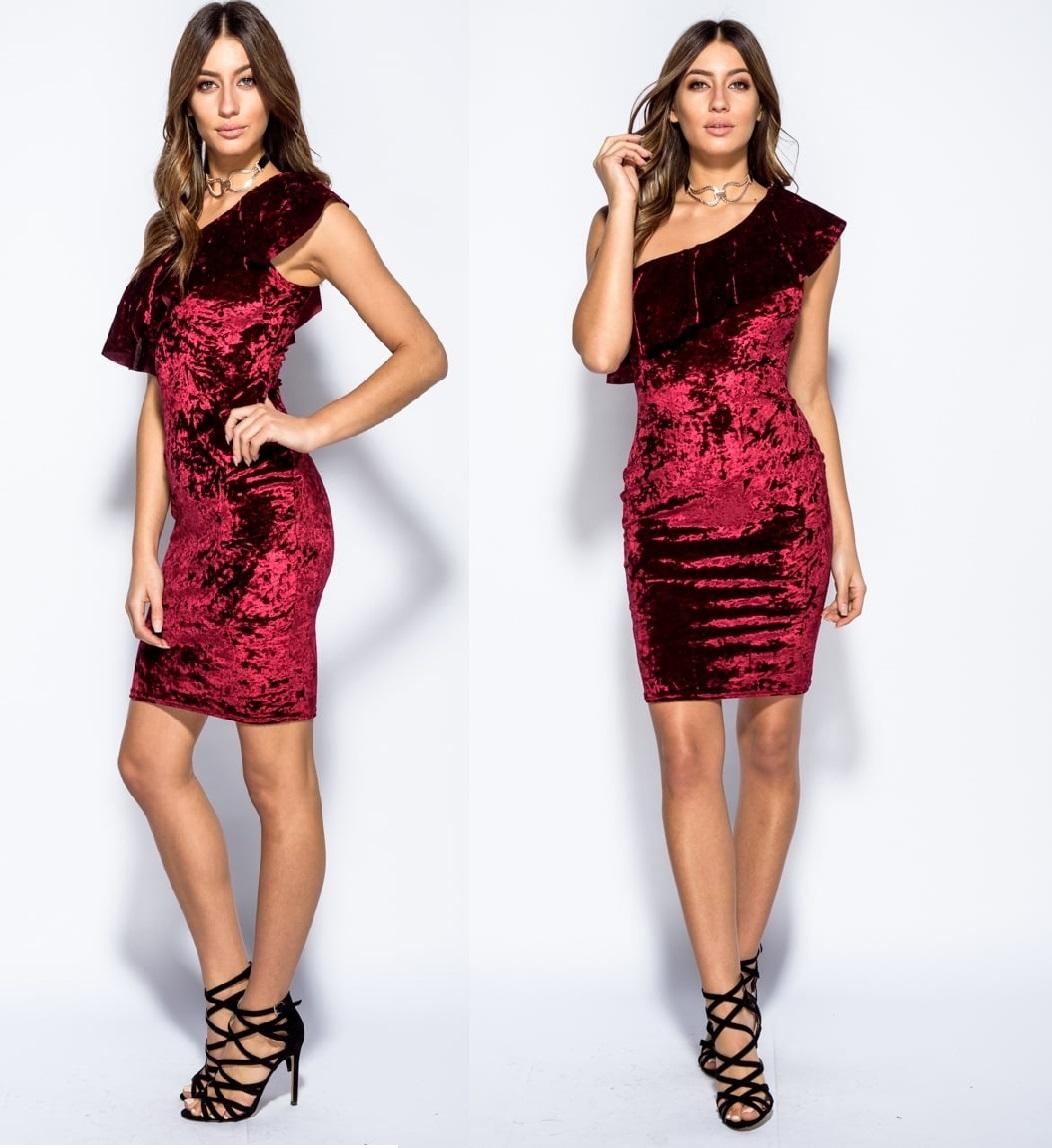 51831dabe9e878 Welurowa Bordowa Sukienka z Falbaną Jedno Ramię L - 7133178141 ...