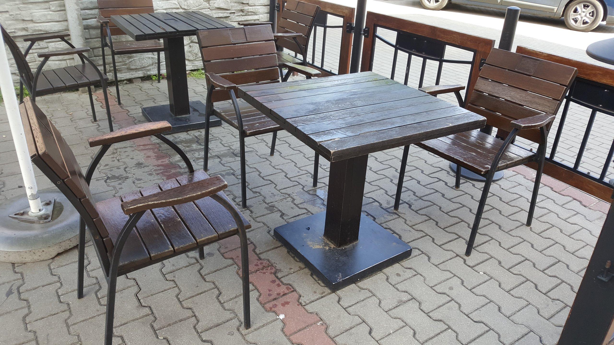 Masywnie Meble ogrodowe ogródek piwny stoły krzesła 3kpl. - 6860954332 RO88