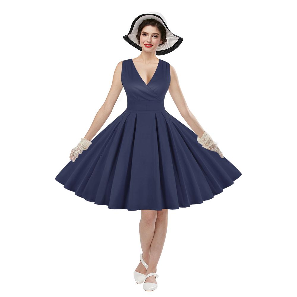 aa8990e33b Sukienka retro rockabilly PIN UP vintage GRANATOWA - 7226938169 ...