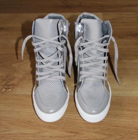 d903ec80 roberto skóra sneakersy botki szare 38 ryłko kazar - 7726437625 ...