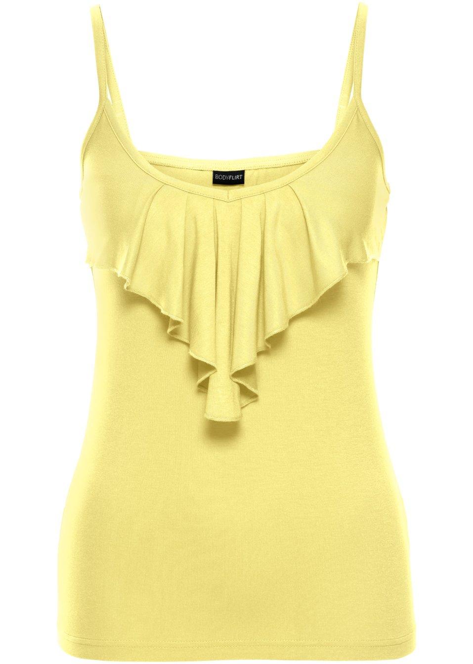 Bluzka top falbana klasyczna 36/38 żółta KM235