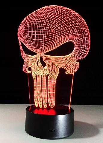 Lampka halloween czaszka akrylowa LED RGB