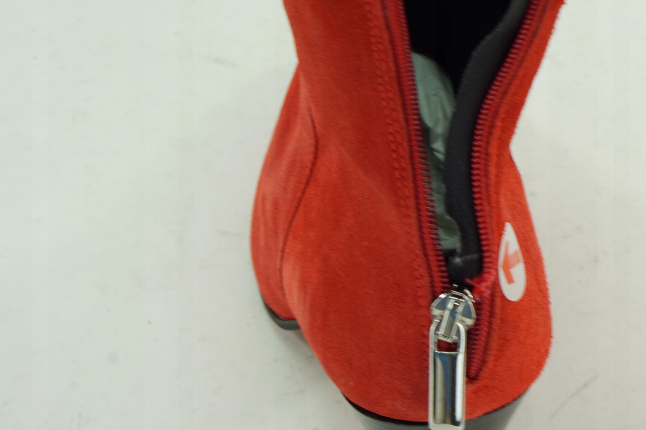 1a0f1506b90cc Botki czerwone skórzane na obcasie 39 PB20 6 - 7518317629 ...