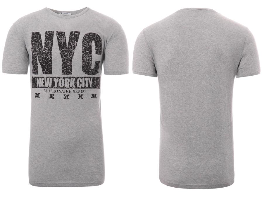 ba2c5d99b 2435 Męska Koszulka T-Shirt Nadruk Szara 5XL - 7366723903 ...