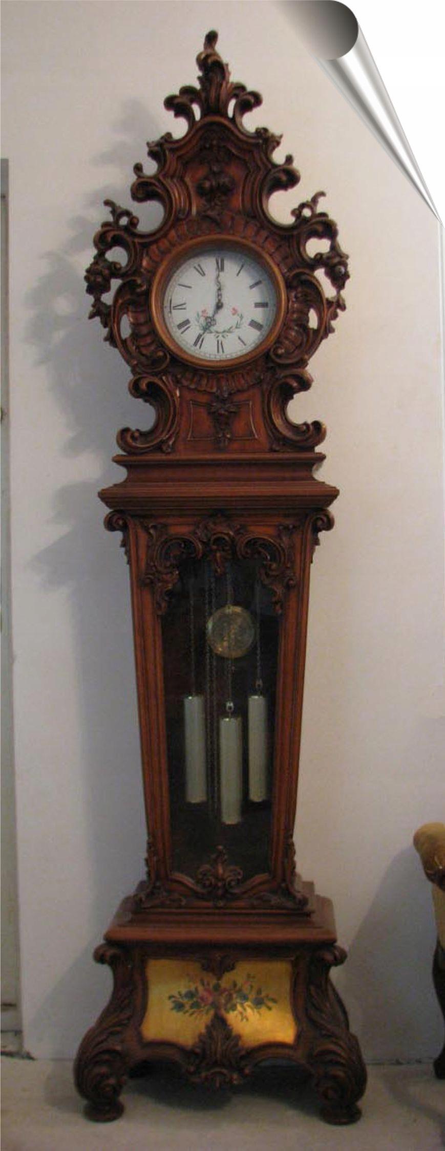 Piękny Zegar Stojący Podłogowy Lite Drewno Rokoko