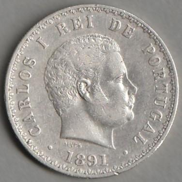 Portugalia / 500 reis / 1891 / Carlos  / srebro