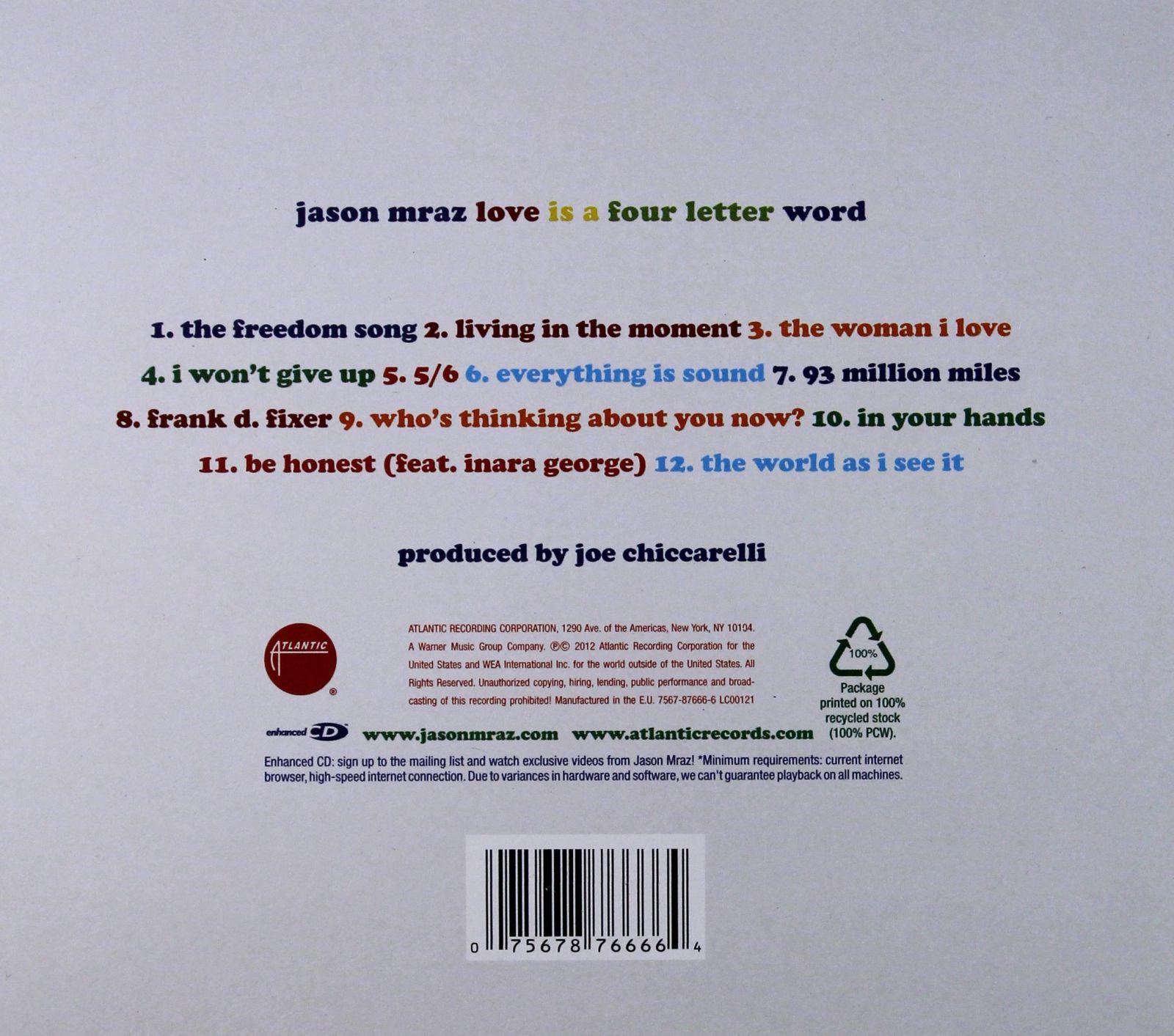 JASON MRAZ LOVE IS A FOUR LETTER WORD ECOPACK C