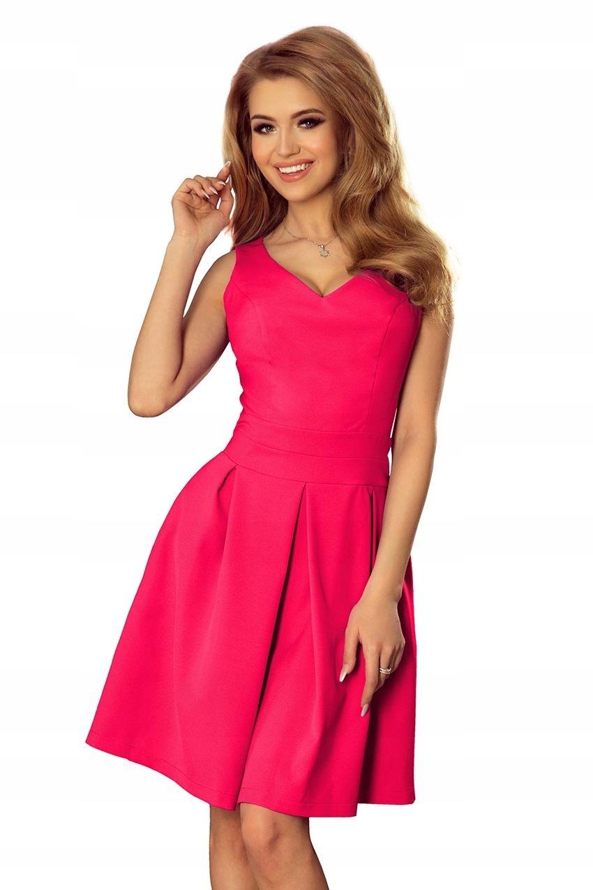 13e5d88e7 MALINOWA Sukienka z dekoltem i kieszeniami 40 L - 7527208425 ...