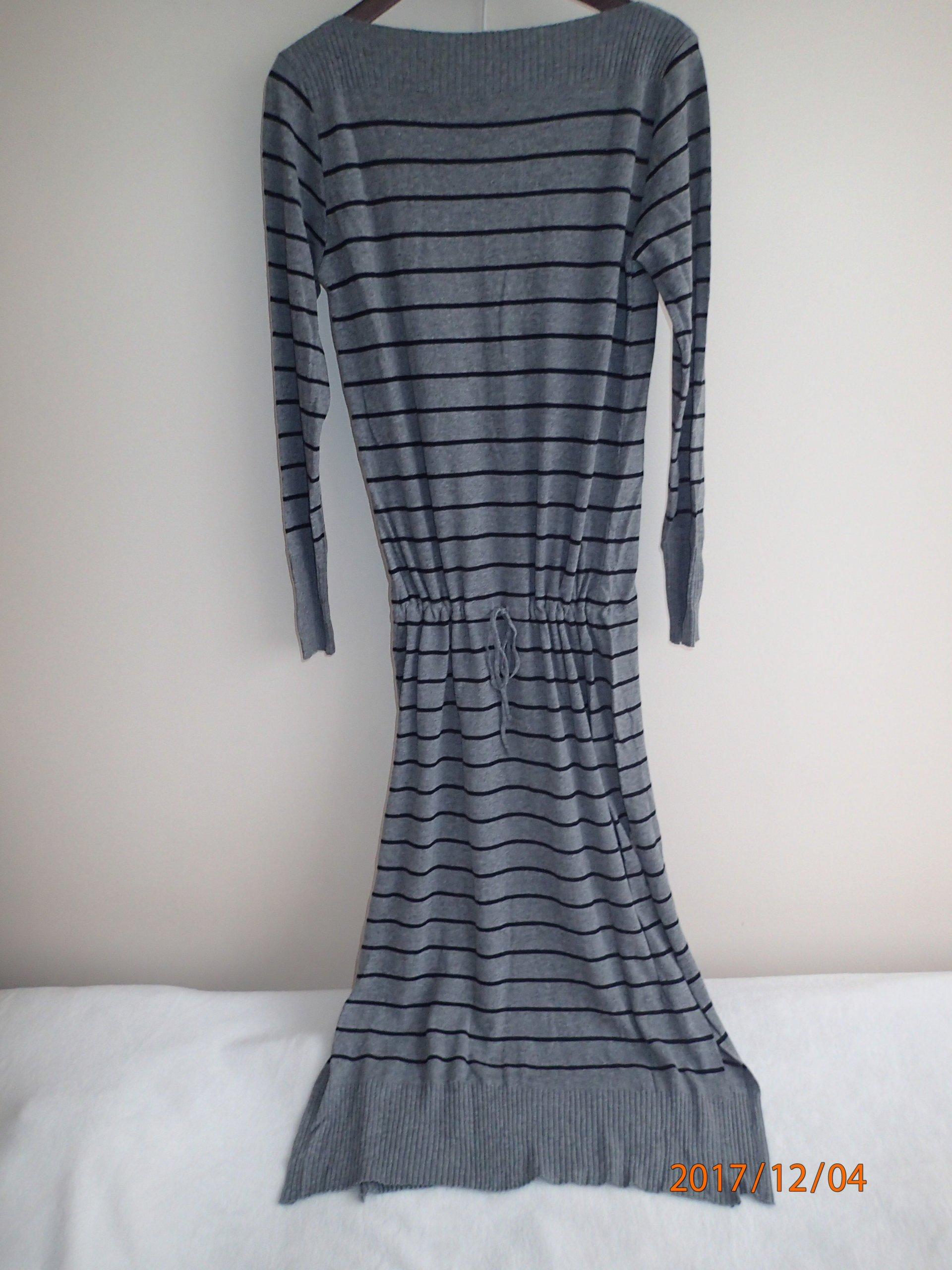 1b32eea5bf Włoska dzianinowa sukienka szara w paski - 7361344432 - oficjalne ...