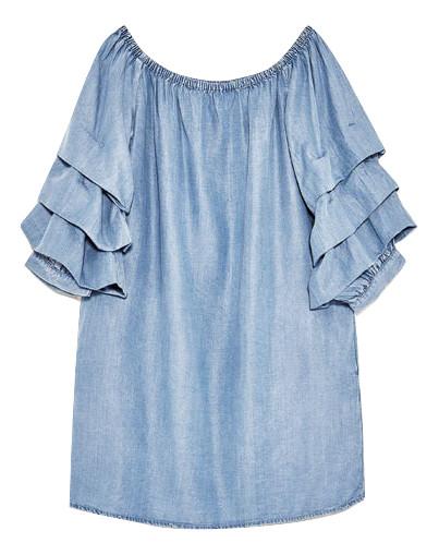26c278ad08 107) ZARA WOMEN sukienka denim dżins falbanki 36 S - 7291873785 ...