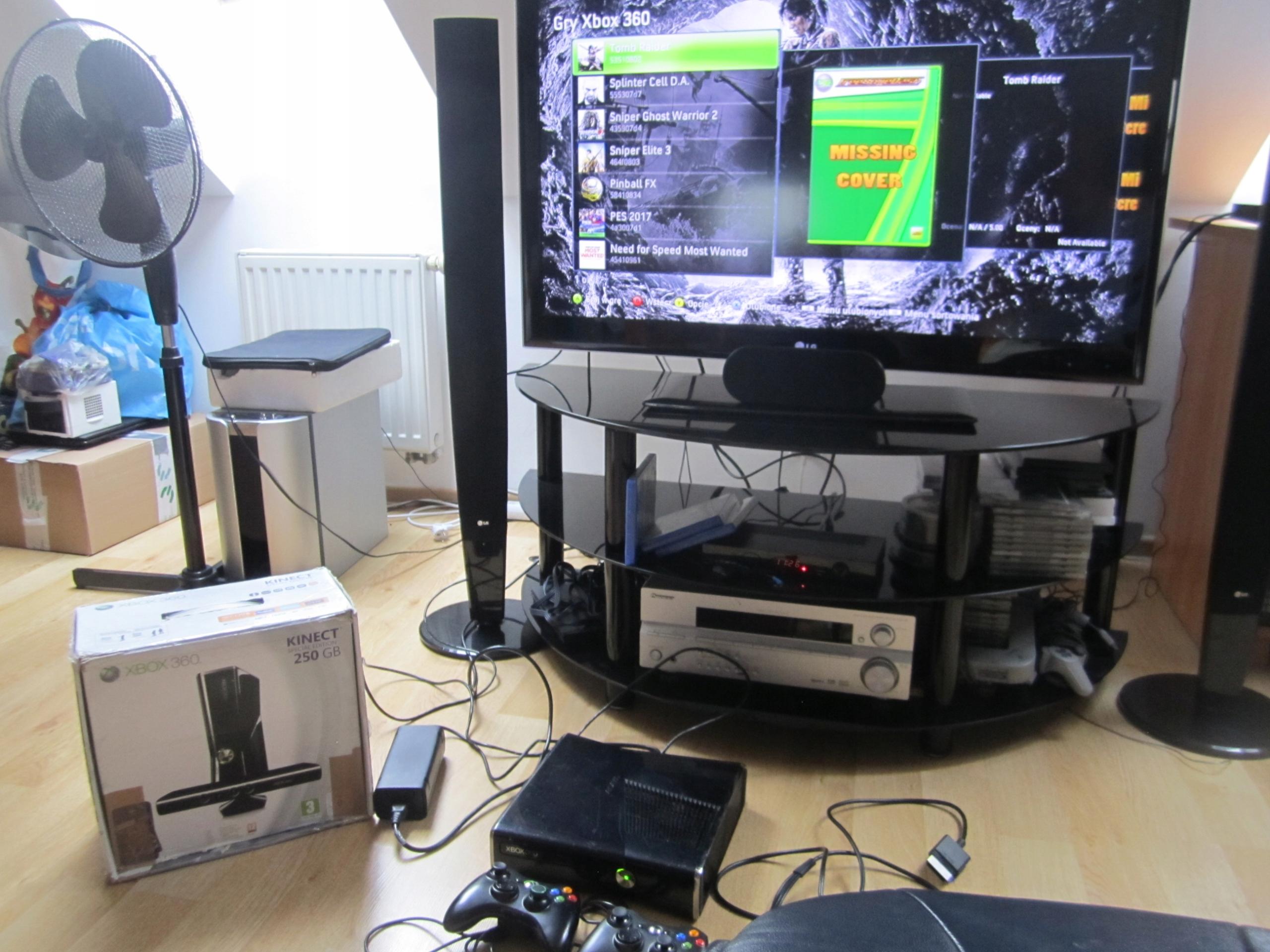 Xbox 360 Slim S RGH 2 PADY BOX GRY BDB Zestaw