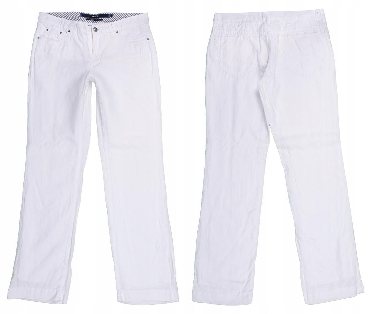 f71c8c0f03 MEXX białe lniane spodnie z podszewką 38 40 MISIZM - 7546496495 ...