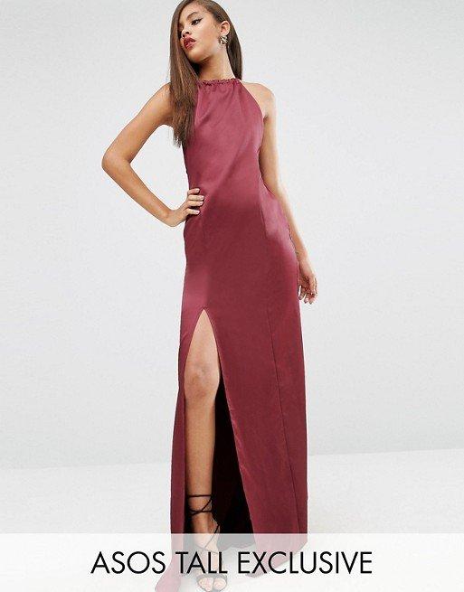 5260eb71f5 Asos wieczorow maxi sukienka burgund odkryte plecy - 7456847355 ...