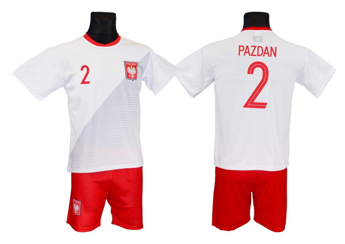 42e8a511a473b4 PAZDAN POLSKA strój piłkarski rozm. 122 i inne - 7391535050 ...