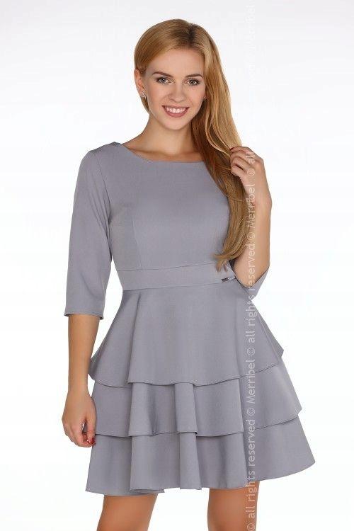 f38b6087 Sukienka szara rozkloszowana z falbaną r 3/4 XL 42 - 7553547272 ...