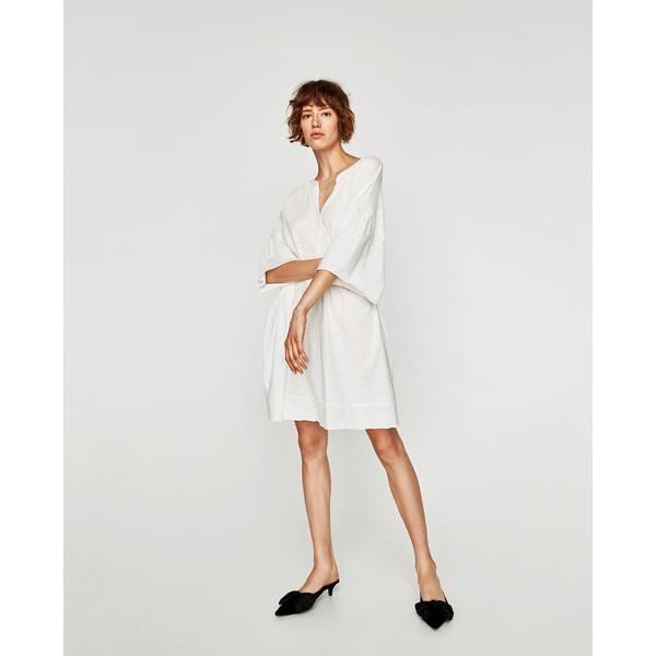 ZARA biala sukienka oversize 100 % bawełna rozm S