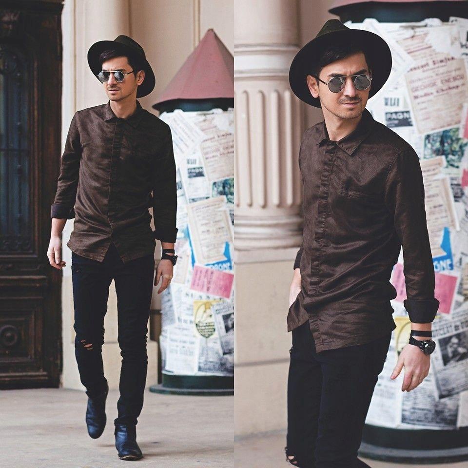 Fedora męski czarny 40 ZARA kapelusz z wełny