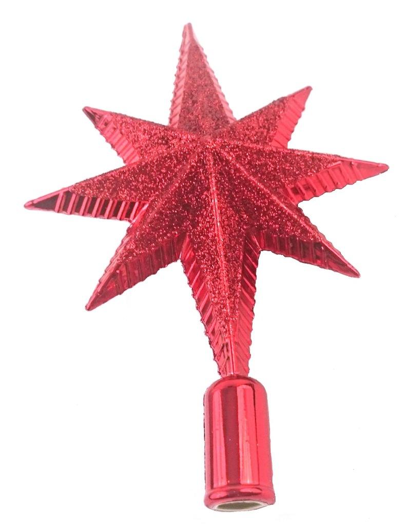 Czubek Na Choinke Czerwona Gwiazda Z Brokatem 15cm 7083656337 Oficjalne Archiwum Allegro