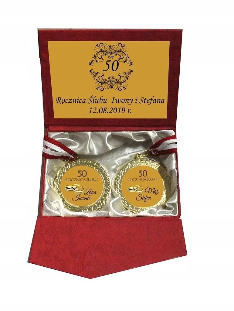 2 X Medal Pudelko 25 50 60 Rocznica Slubu Grawer 7646926137