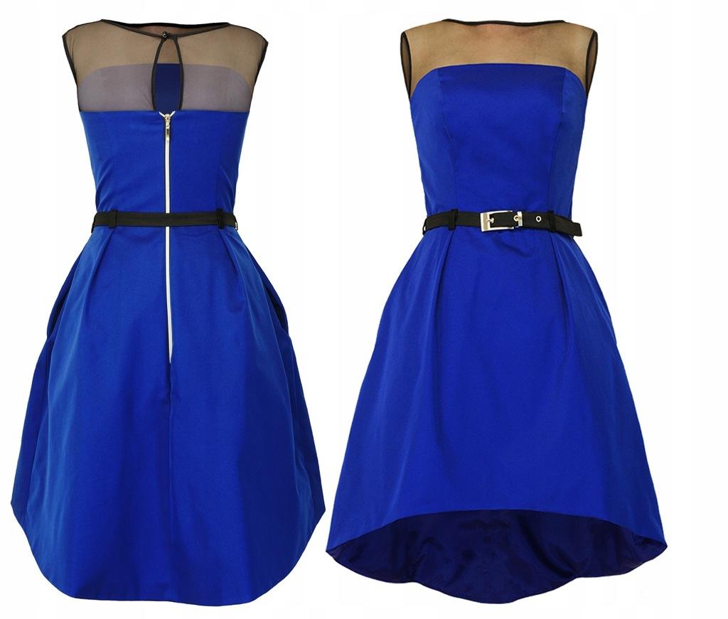 CAMILL 222 szafirowa gorsetowa sukienka r.52