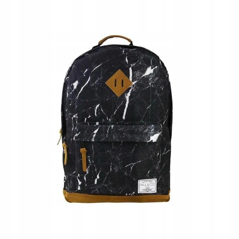 Plecak dwukomorowy czarny Marmur