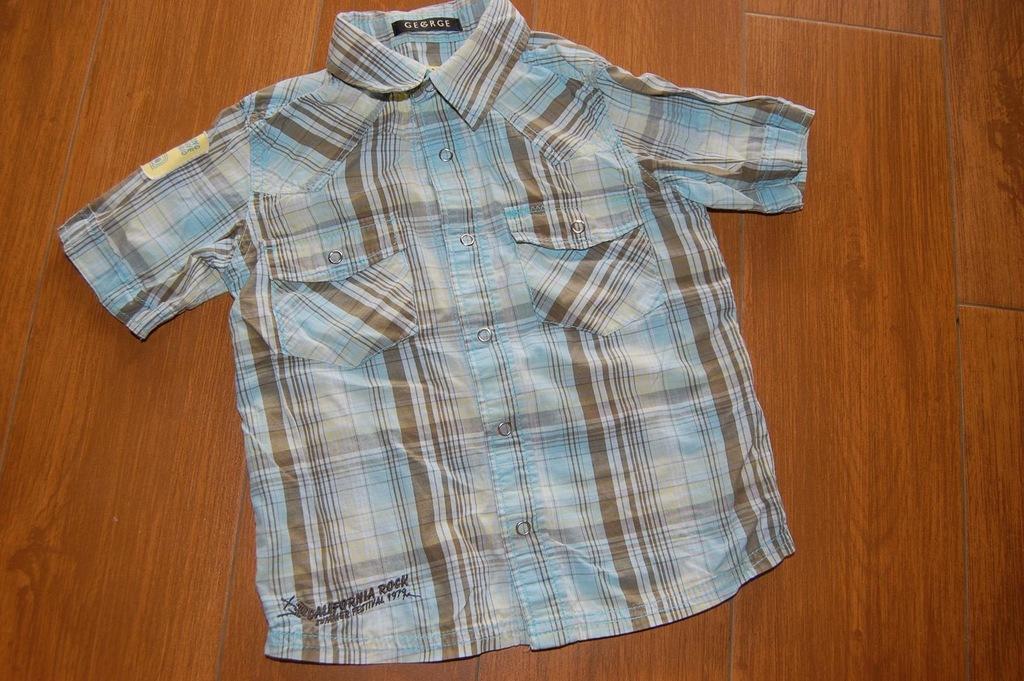 George koszula krata elegancka lato 4-5 104 110