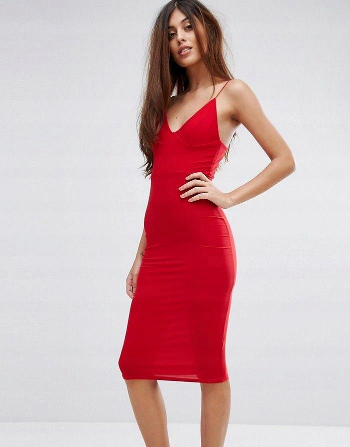 CLUB L Ołówkowa czerwona sukienka midi (36)