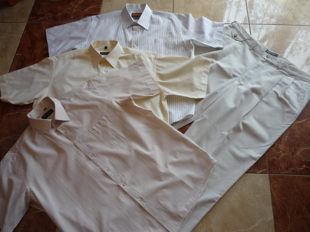 Beżowe bawełniane spodnie pas 104 cm + 3 koszule