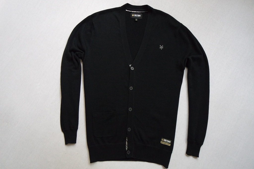 ZOO YORK sweter sweterek czarny logowany modny___L