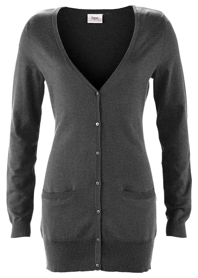Długi sweter rozpinany szary 4446 XXL3XL 905756