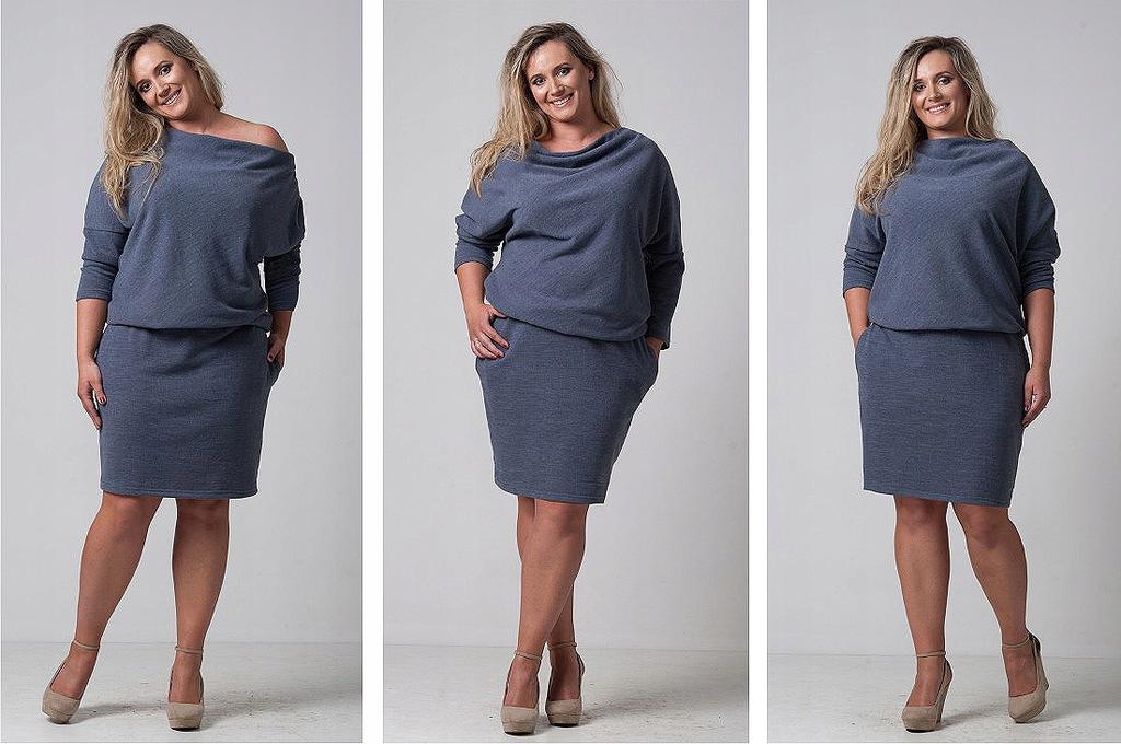 Tuszująca brzuszek ciepła sukienka plus size xxxl Galeria