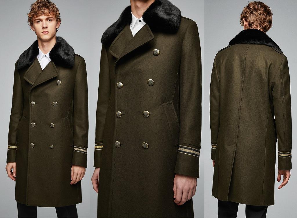 ZARA męski płaszcz militarny khaki z futerkiem L