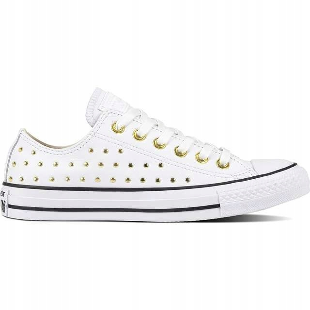Converse CHUCK TAYLOR ALL STAR LEATHER WHITE WHITE GOLD Buty Damskie Trampki