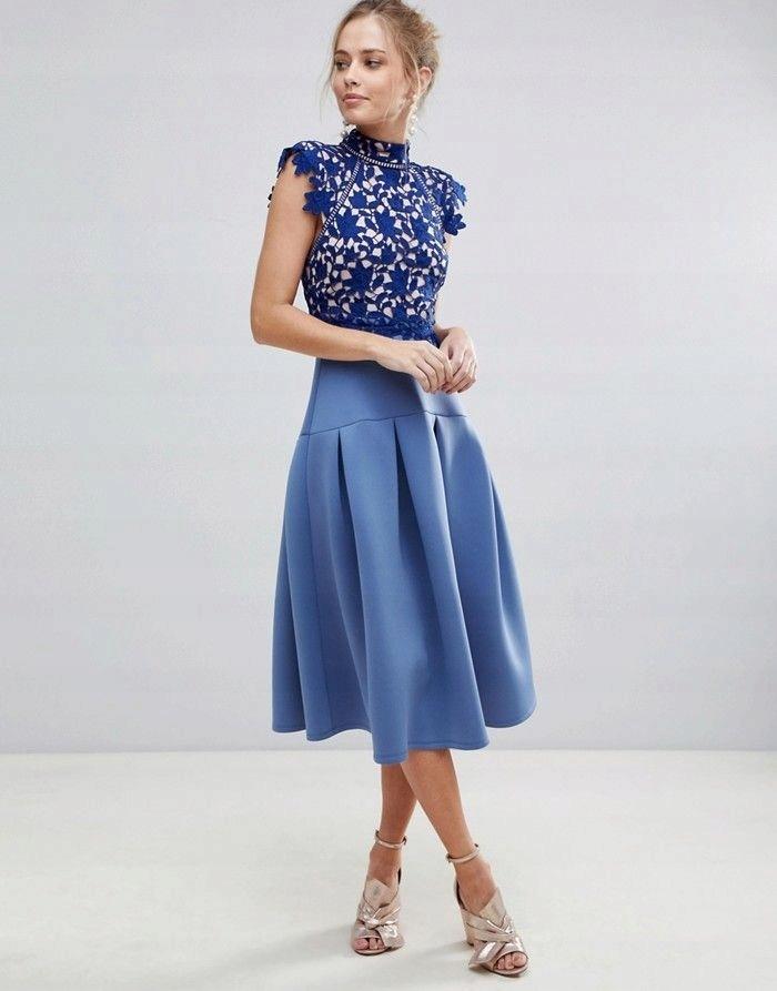 ASO Niebieska łączona sukienka koronka (38) WESELE