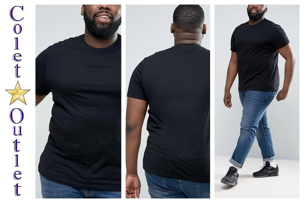 mr32 T-shirt męski czarny regular bawełna 2XL XXL
