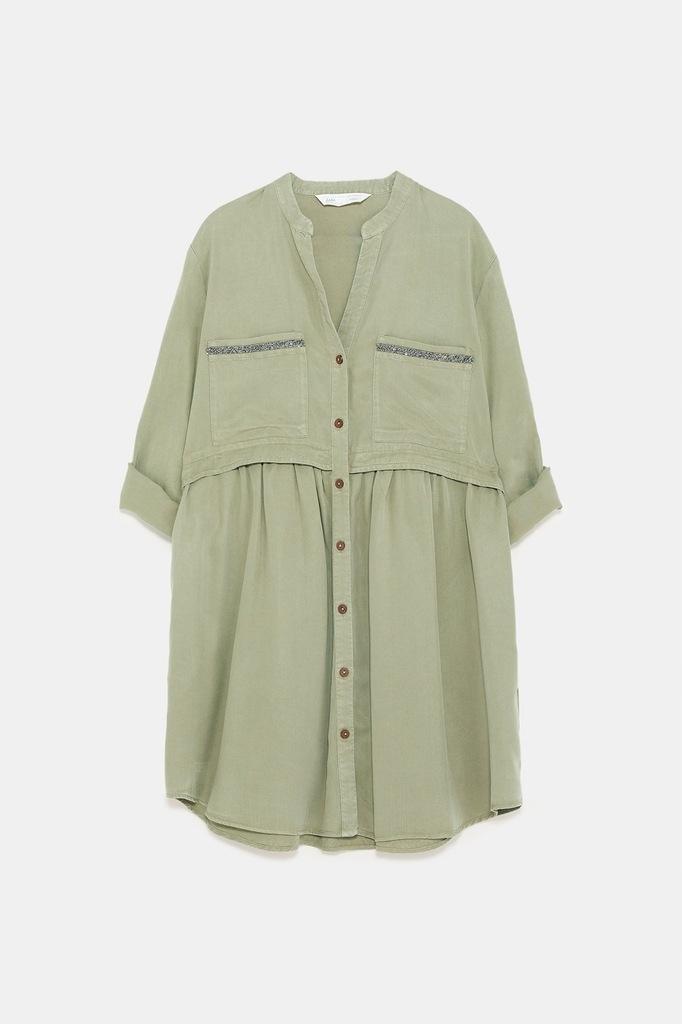 ZARA sukienka koszulowa 42XL khaki