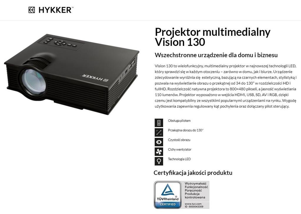 Projektor Rzutnik Led Vision 130 Usb Hdmi 800x480 7228813050 Oficjalne Archiwum Allegro