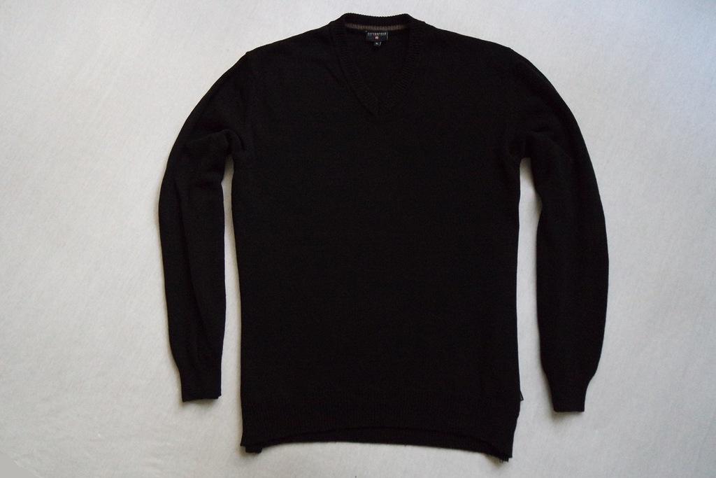 COTTONFIELD sweter sweterek czarny WEŁNA logo___XL