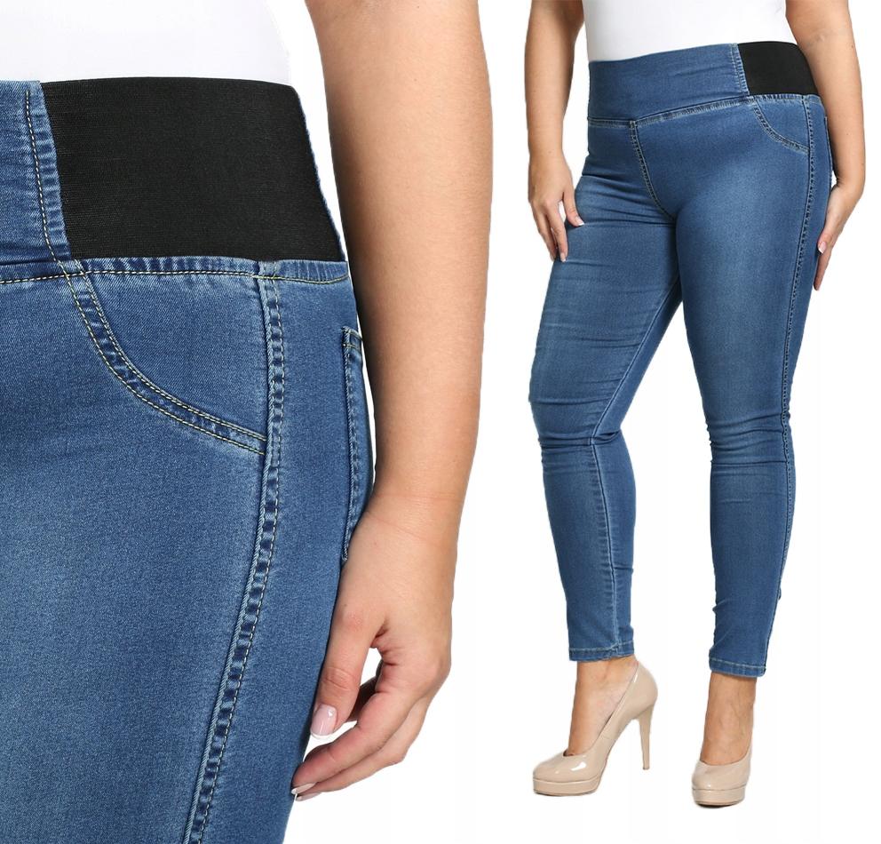 Jeansy z gumą spodnie modelujące P22 PLUS SIZE 48