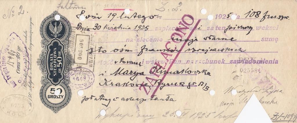 Lwów 1925 przez Niemcy płatny Kraków Weksel