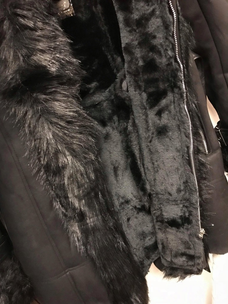 Płaszcz elegancki PARIS futerko kaptur ocieplany M