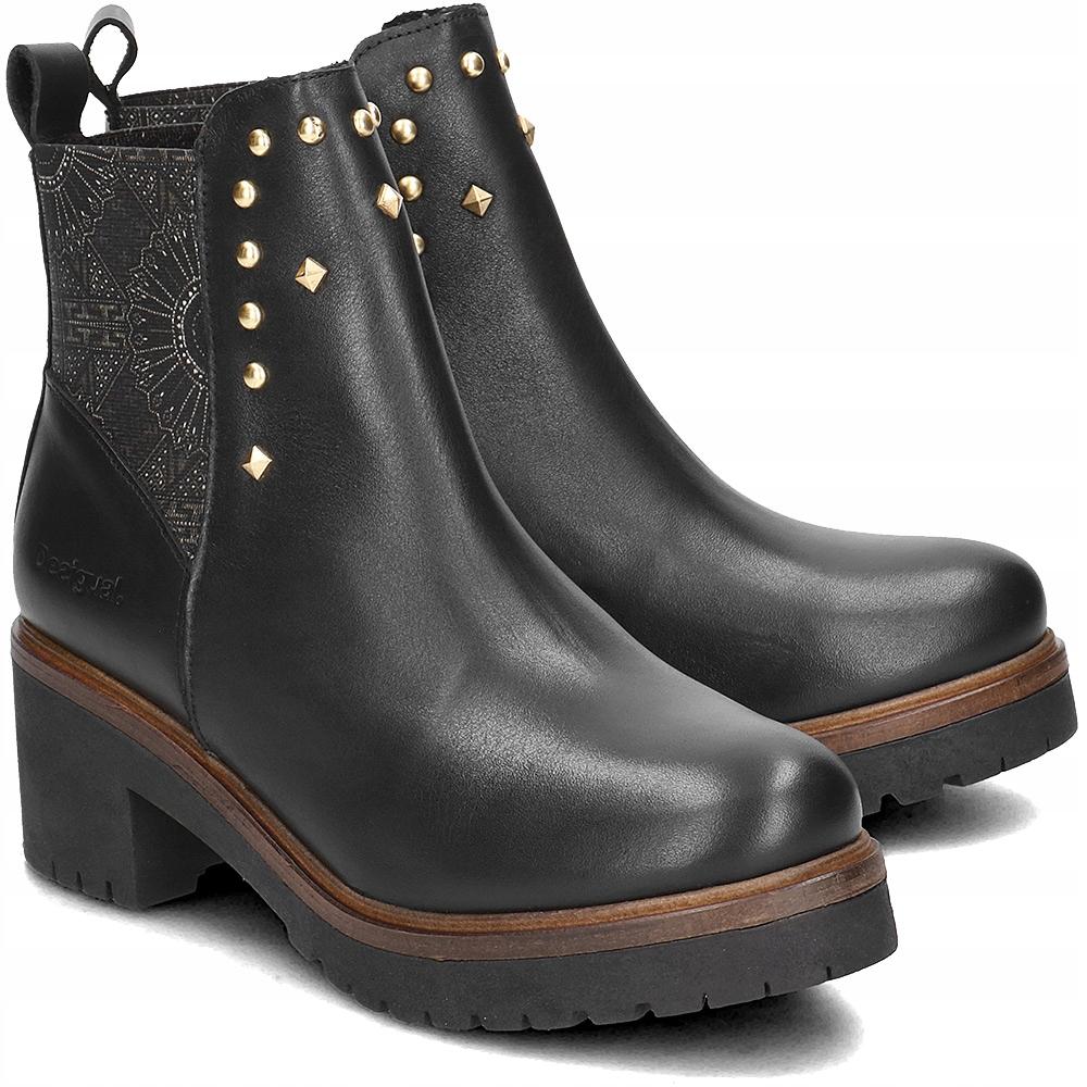 desigual botki na koturnie czarne