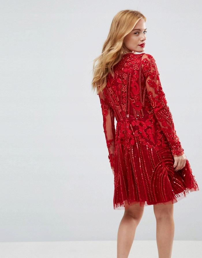 A STAR IS BORN Czerwona sukienka cekiny haft (36