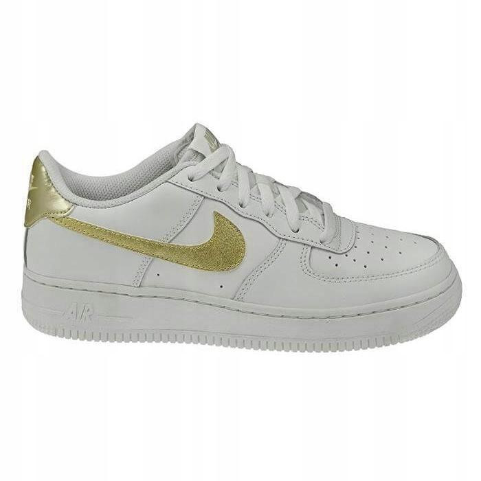 Damskie buty Nike Air Force 1 białe ze złotym znaczkiem