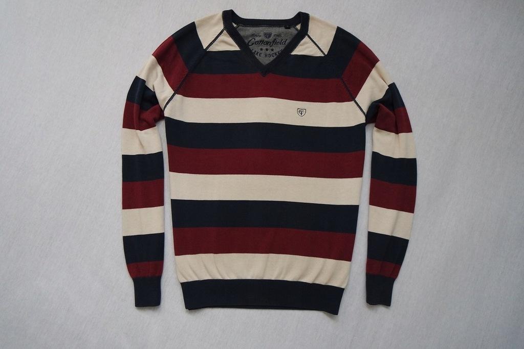 COTTONFIELD sweter sweterek paski logowany modny_L
