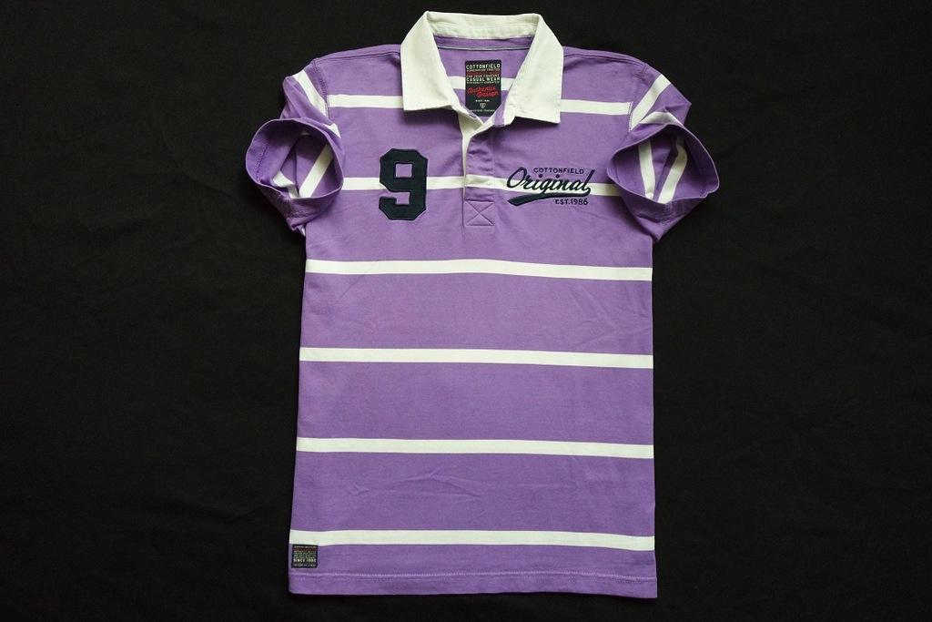 COTTONFIELD koszulka polo fioletowa paski logo___M
