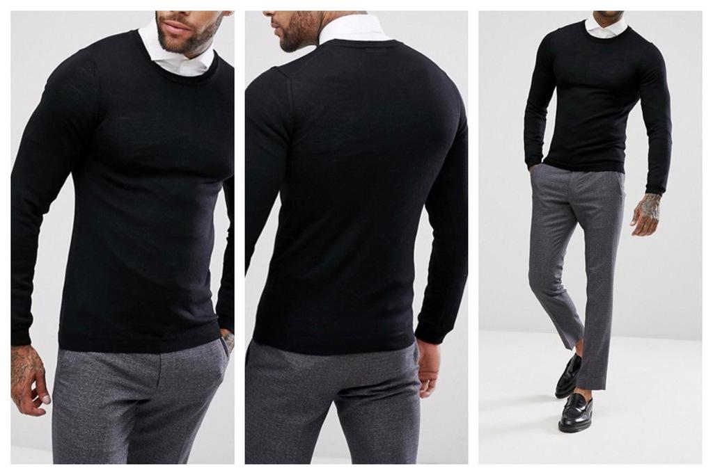 ml56 sweter męski czarny wełniany elegancki XXS