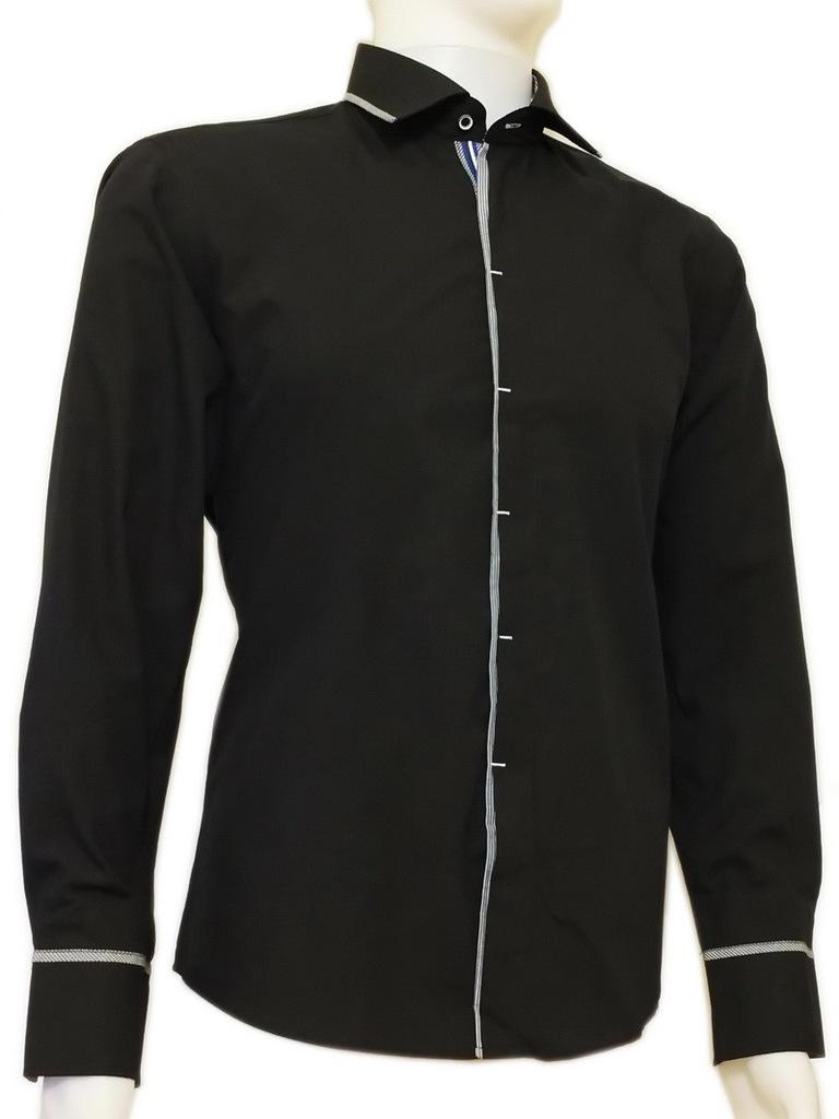 3940 Czarna koszula męska kryta plisa krój SLIM  k6NK9